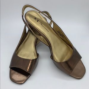 CL by Laundry Slingback Metallic Wedge Sandal
